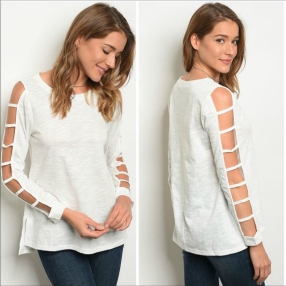 Love Riche Tops - Off White Ladder Sleeve Top